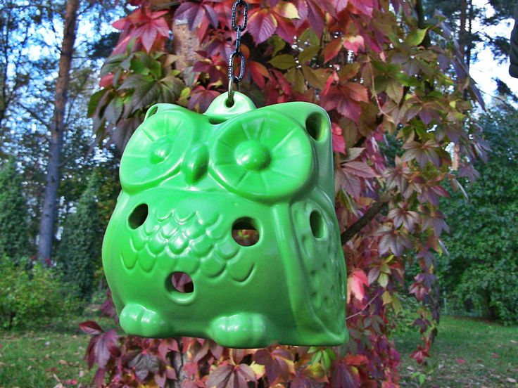 Ceramic owl. Color is light green. A small candle can be placed inside the owl.