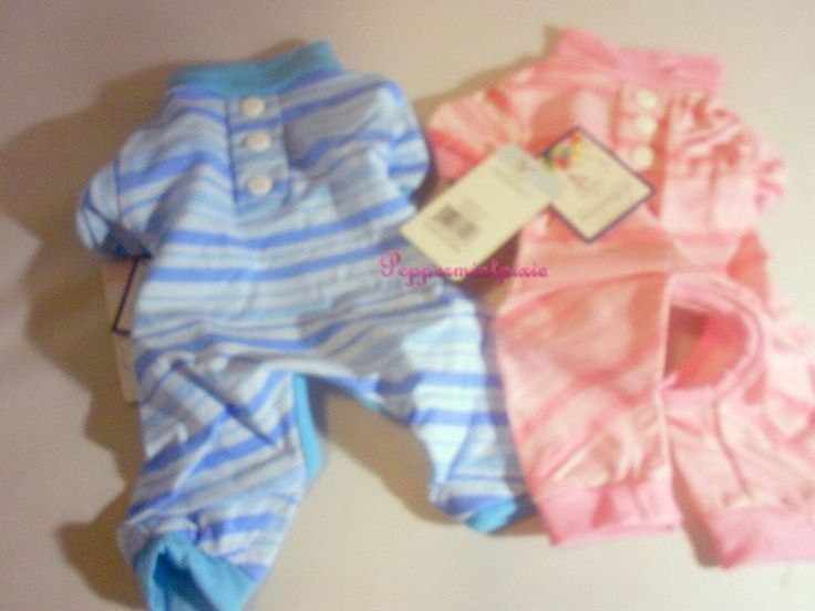 Fou Fou Dog Candy Striped Pajamas Blue or Pink XSmall Gift? Great 4 Puppy SALE PJs are made of 100% cotton. They feature a faux button down design,  with a monochromatic striped design.   It's mind-boggling... how adorable your pet will look & will keep your lil one nice  & comfy & not over-heated  Why not give your pooch a snugly nights sleep in these lil jammies Whenever & Wherever