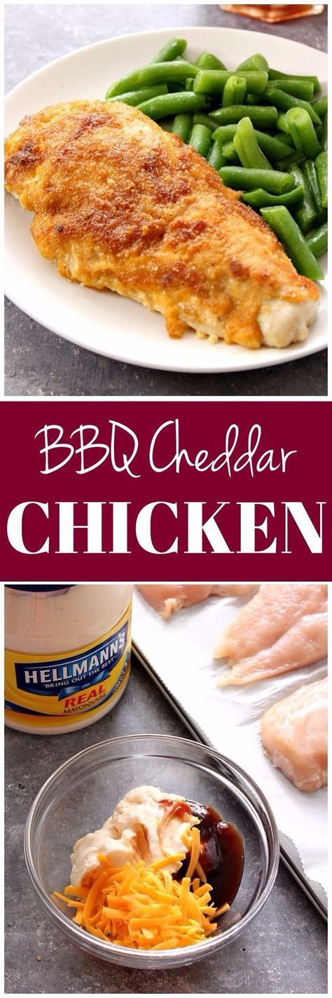Easy BBQ Cheddar Chicken - only 5 ingredients are needed to make this delicious baked chicken! Serve with a tall glass of cucumber melon tea for a meal the whole family will love.