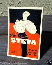 Vintage Original FRENCH STEVA SUSPENDERS Cardboard Display Sign 1920s NOS Unused
