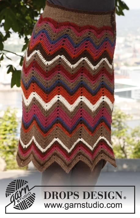 "Crochet DROPS skirt with zigzag/Chevron pattern in ""Alpaca"". Size S-XXXL ~ DROPS Design"