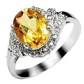 2.4 Carat Citrine Gemstone Engagement Ring On Silver # Free Stud Earrings by JewelryHub on Opensky