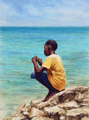 """Untangling His Line"" by Sheldon Saint  Watercolor"