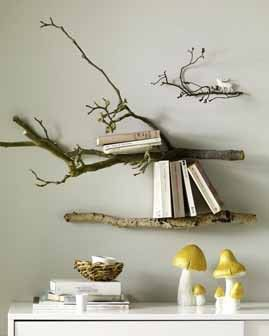 Branch stick book shelves