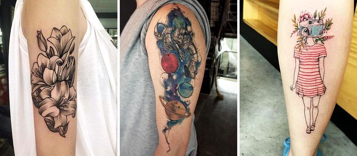 Em 2016 alguns artistas brasileiros se destacaram na cena da tatuagem. Selecionamos 21 deles. Nessa foto os trabalhos de Ricardo Garcia, Feliphe Veiga e Luiza Blackbird. #tattoo #tatuagem #fineline #colorido #galaxia