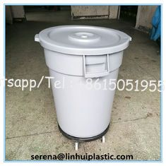 China New Products Plastic round trash can waste basket lidless garbage bins with dolly  for sales supplier