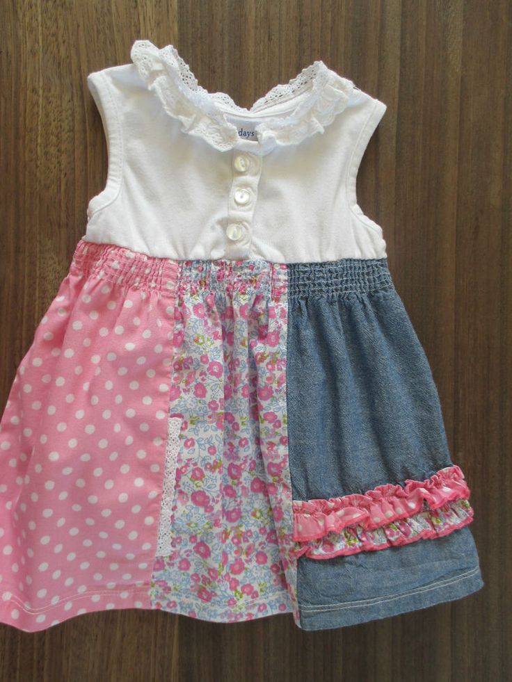 Baby girls vintage patchwork style dress pink, blue & white, 12-18 mths