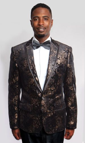 Black and Gold Blend shine  Fashion Tuxedo Jackets Blazer Entertainers delight #ME171 #OneButton