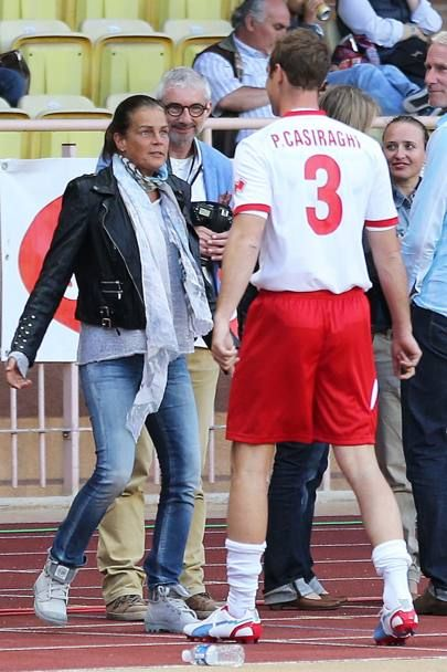 casiraghitrio:  Pierre Casiraghi with his aunt Princess Stephanie at the Monaco All Stars charity football match, May 20, 2014