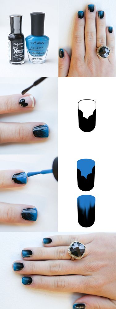 :): Nails Art, Nails Design, Nailart, Black Nails, Gradient Nails, Nails Polish, Ombre Nails, Blue Nails, Nails Tutorials