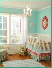 Love the colors  but would use  in her big girl room. I especially love the initial in the  painted antique frame.