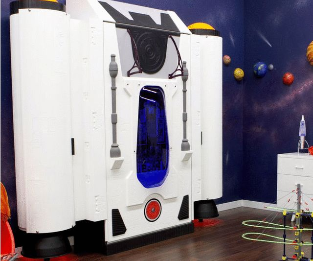 Turn your little space explorer's room into ground zero for intergalactic adventures with this spaceship fold up bed. During the day the bed conveniently folds up to provide more room for activities and at night it lowers so he can blast off into dreamland.