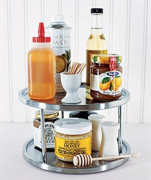 Contain messes in your cabinets by housing sticky or spillable food items on an easy-to-clean lazy Susan.Spillabl Food, Kitchen Organization, Organizing Ideas, Lazy Susan, Kitchens Organic, Organic Ideas, Smart Organic, 24 Smart, Organic Kitchens