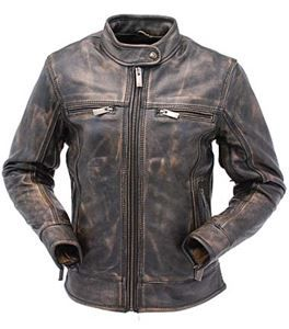 Women's Long Body Extreme Vintage Brown Leather Motorcycle Scooter Jacket with Conceal Carry Pockets - $244