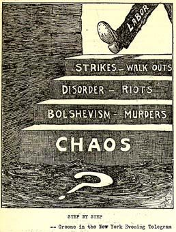 In American history, the First Red Scare of 1919–1920 was marked by a widespread fear of Bolshevism and anarchism. Concerns over the effects of radical political agitation in American society and alleged spread in the American labor movement fueled the paranoia that defined the period.