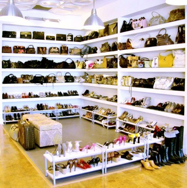 Nice shoe department for a consignment or resale shop. Notice that even if they're INCHES above the floor, how much nicer, fresher, these shoes look! http://TGtbT.com was right all along, huh? ;)