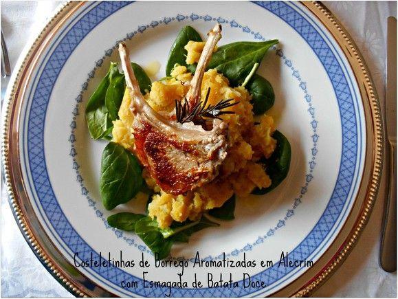 Uma combinação muito harmoniosa, este entre a carne de borrego e o puré de batata-doce