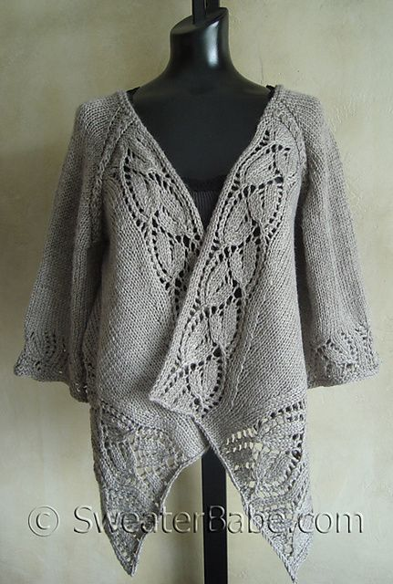 Lace Top-Down Wrap Cardigan pattern by SweaterBabe in Galway worsted dusky rose