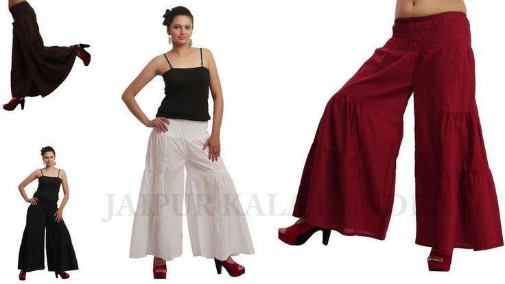 Women Cotton Palazzo Pant Bottom Pantaloon Trouser JKK #JaipurKalaKendra #CasualPants