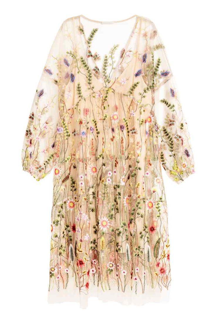 Robe brodée - Beige poudré/fleuri - FEMME | H&M FR