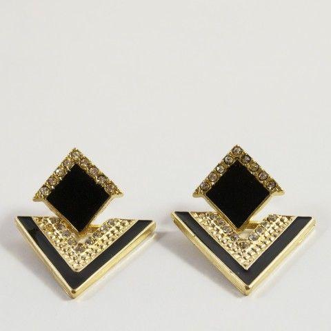 Boucle d'oreille noir et or orné de cristaux fantaisie. #bijoux #mode #accessoire