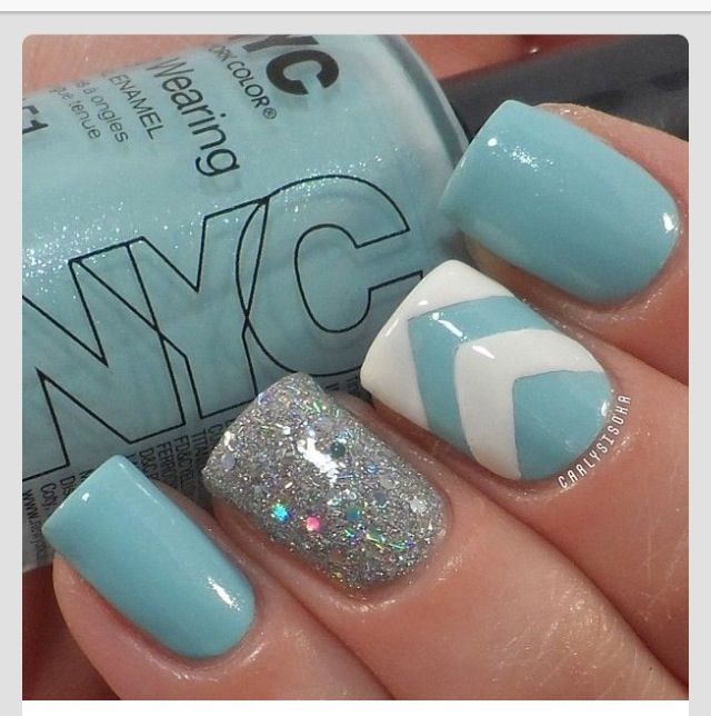 Mint Green Prom Nail: Nails, Nails Art, Nail Design, Blue, White, Mint, Green