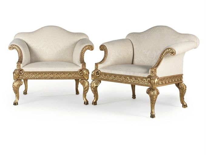 A PAIR OF GEORGE III GILTWOOD ARMCHAIRS   DESIGNED BY ROBERT ADAM AND MADE  BY JAMES