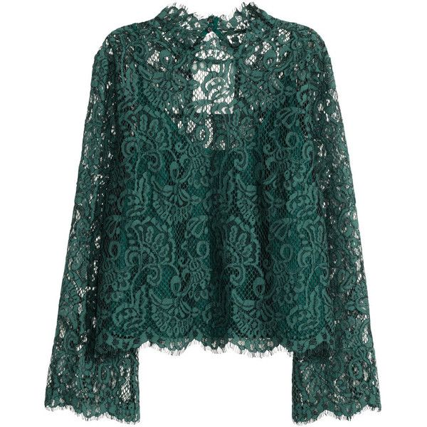 Lace Blouse $39.99 ($40) ❤ liked on Polyvore featuring tops, blouses, long cami, green top, long lace camisole, long lace cami and long camisole