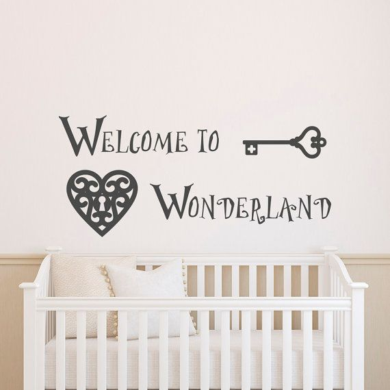 Wall Decal Welcome To Wonderland Quote Alice In Wonderland Wall Decals Murals Nursery Kids Bedroom Baby Bedding Wall Art Home Decor  Approximate