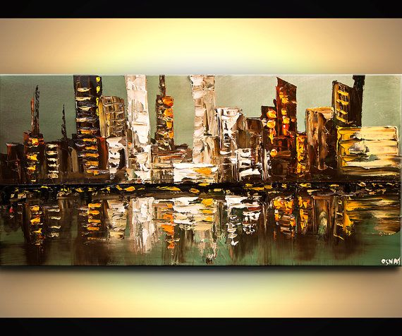 """Modern 48"""" x 24"""" ORIGINAL City Lights Acrylic Painting Signed Modern Palette Knife Acrylic Abstract by Osnat Tzadok"""