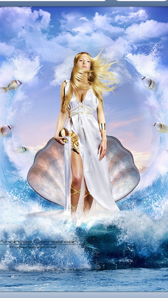 Aphrodite goddess of beauty and love, born from the sea. Maybe I can do a portrait of me like this someday :)