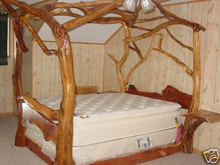 cedar canopy bed i love how it has bed side tables coming out looks