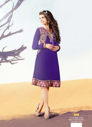 """Designer Wear Georgette Kurti with Santoon lining in Purple color with fine embroidery work en-crafted. Length: 38"""" and Size: L, XL"""