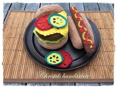 Christels handarbete: Virkad korv och hamburgare, Crochet hamburger and sausage