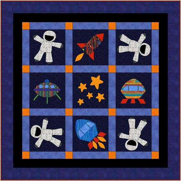17 best images about aliens space quilts on pinterest for Space fabric quilt
