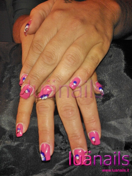 Allungamento a cartine e gel colorato rosa shocking :) - Centro unghie Luanails Milano 0284344643