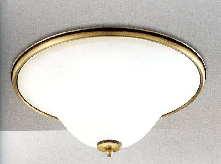 188-5329 Soffitto Bianco oro dia. 45,5cm  Lampada da soffitto in vetro satinato con punta dorata. Lampada decorativa adatta a condomini di stile classico. Diametro 45,5 centimetri
