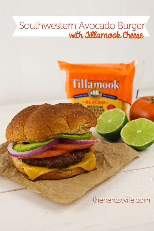 Southwestern Avocado Burger with Tillamook Cheese -- a spicy burger that's straight off the grill.