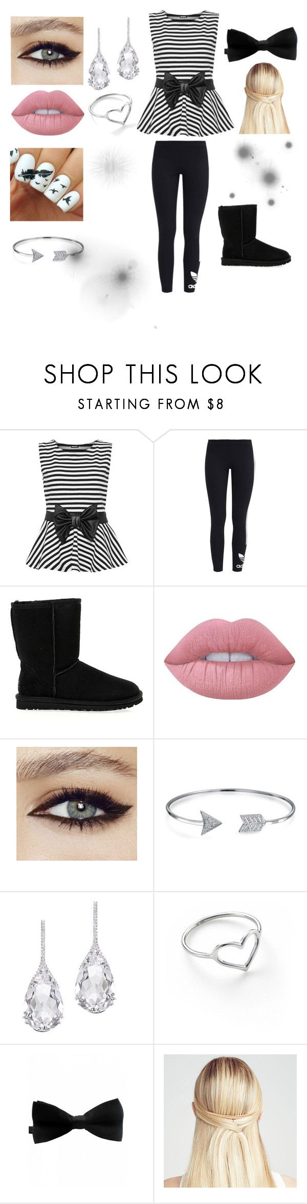 """""""Black and White Stripes"""" by furffle ❤ liked on Polyvore featuring WearAll, adidas Originals, UGG Australia, Lime Crime, Bling Jewelry, Plukka, Jordan Askill and Chloe + Isabel"""