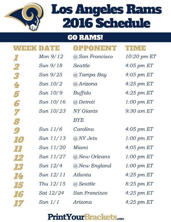 Los Angeles Rams Schedule - 2016