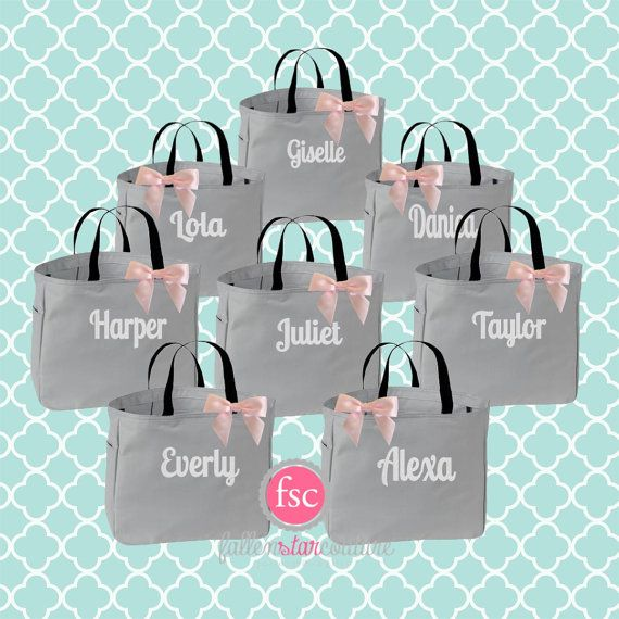 8 bridesmaid tote bags bridesmaid gifts by FallenStarCoutureInc