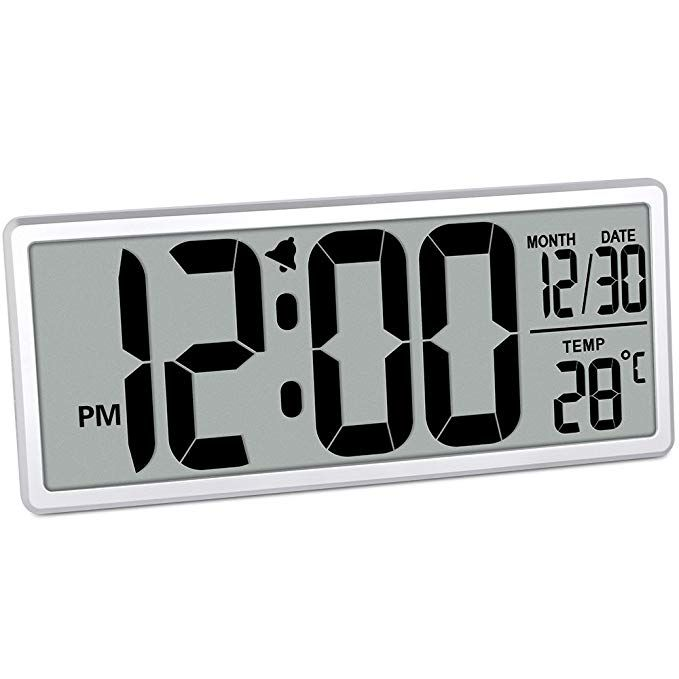 Txl 13 9 Jumbo Digital Alarm Clock Battery Operate Extra Large Lcd Display 4 6 Bold Font Calendar 12 24 Mode Temperatu Alarm Clock Digital Alarm Clock Clock