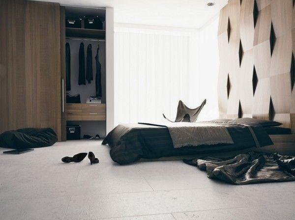 Elemento arquitetonico ocupando a parede do chao ao teto e servindo como headboard. Modern Bedroom