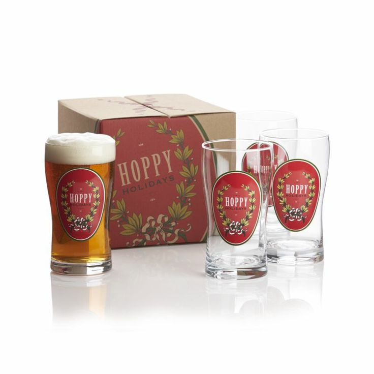 Hoppy Holidays Beer glass set. Get a case of their favorite beer to go along with it for the perfect gift.
