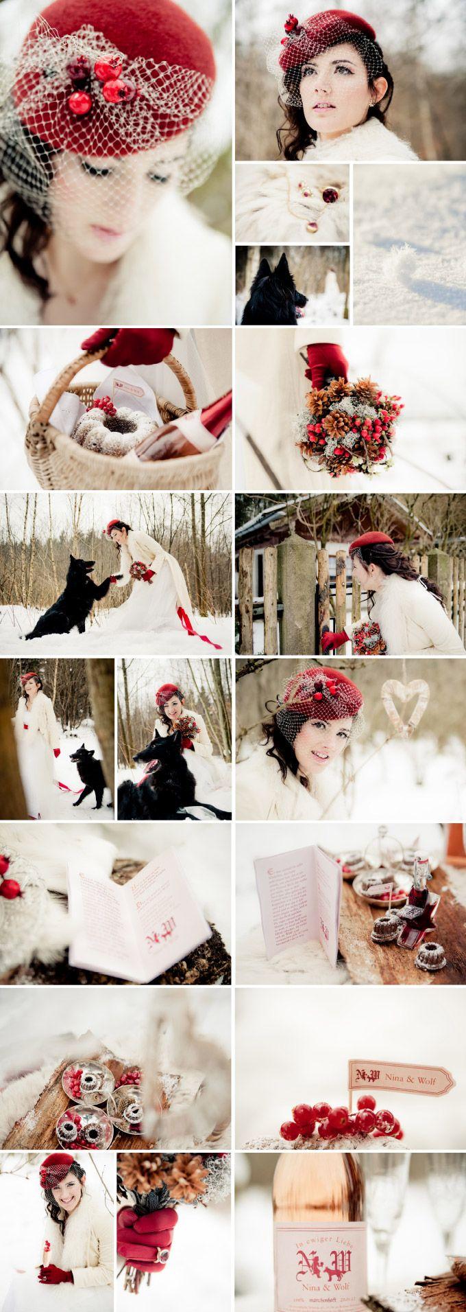 """Winterhochzeit Märchen Rotkäppchen im Schnee. Thema: """"Rotkäppchens Hochzeit"""" von Trauwerk Hochzeitsplanung  Fotografie: Petra Fritzi Hennemann"""