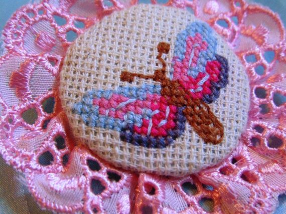 Hand embroidered brooch Dragonfly with pihk lace. от MaRenaMaRa