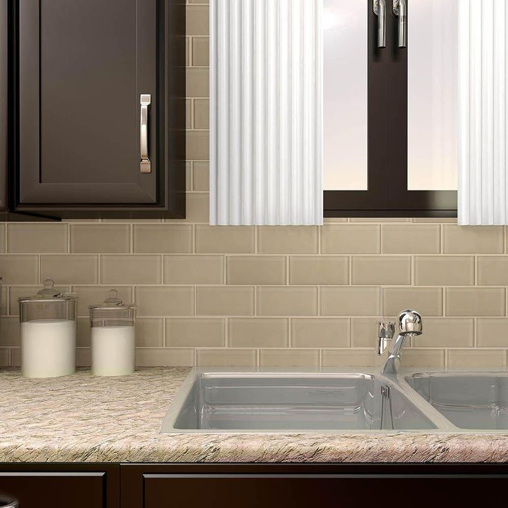 Large Subway Tile Kitchen Backsplash: Merola Tile Tessera Subway Sandstone 3 In. X 6 In. Glass