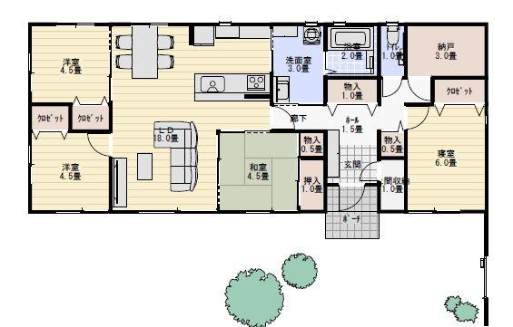 30坪4ldk家事動線に配慮した平屋の間取り図 平屋間取り 間取り 間取り 30坪 平屋 間取り 40坪