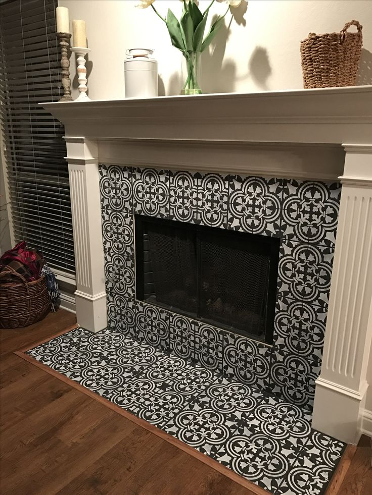 Chalk painted and stenciled tile fireplace - Augusta Tile Stencil http://www.cuttingedgestencils.com/augusta-tile-stencil-design-patchwork-tiles-stencils.html