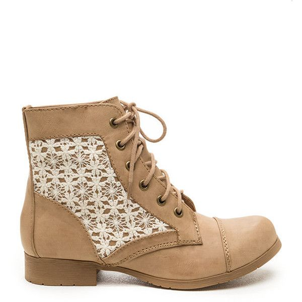 TAN Flower Power Crochet Combat Boots ($23) ❤ liked on Polyvore featuring shoes, boots, ankle booties, ankle boots, tan, lace-up booties, lace up bootie, faux suede lace-up booties and lace up ankle booties